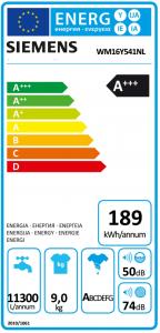 energielabel van de siemens wm16y541