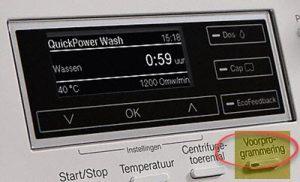 Voorprogrammeren starttijd wasmachine