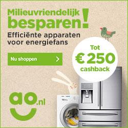 Wasmachine met korting - CashBack actie bij AO.nl