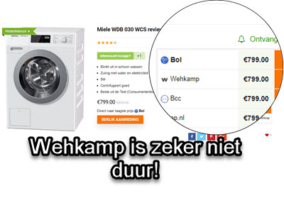 Wehkamp wasmachine zeker niet te duur