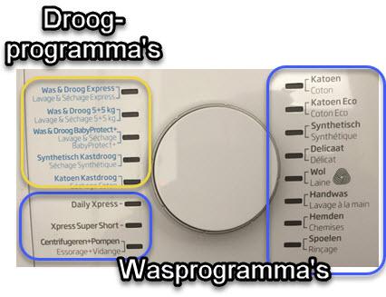 Alle wasprogramma's en droogprogramma's op de wasmachine