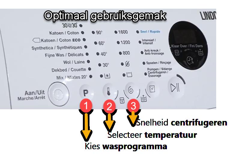 Gemakkelijk bediening instellen wasmachine