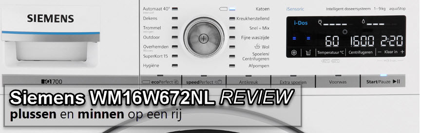 Siemens WM16W672NL review door Wasmachinepagina