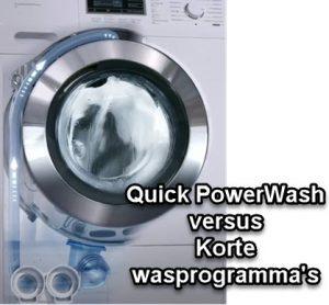 verschil tussen QuickPowerWash en een verkort wasprogramma